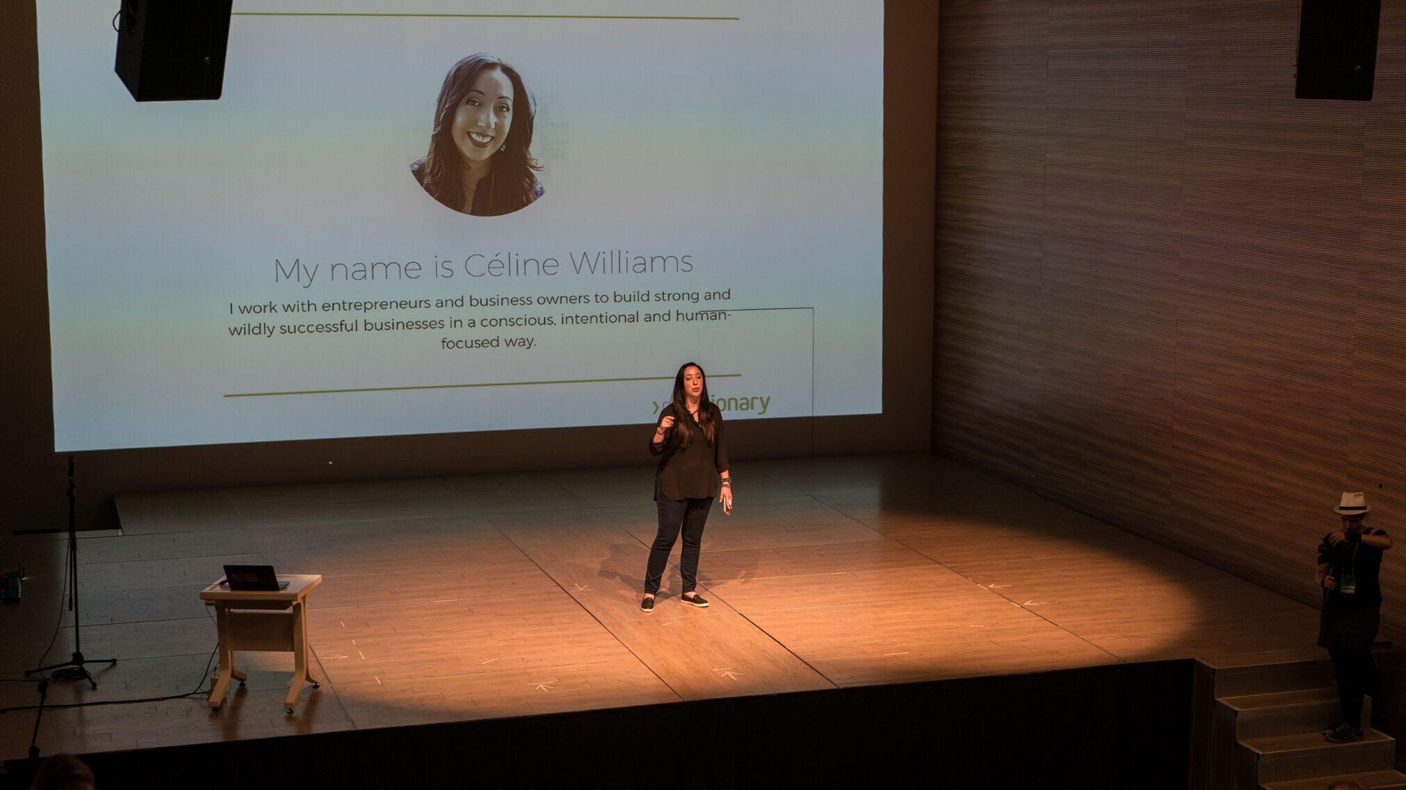 Céline Williams speaking at Ryerson University